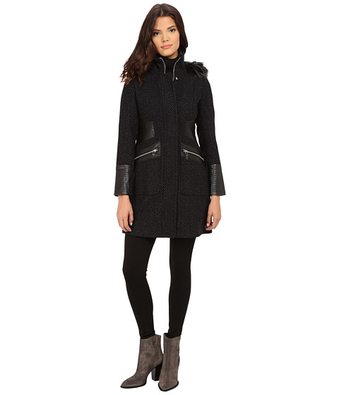 Via Spiga - Basket Tweed Tassel Body Coat w/w Faux Fur Trimmed Detachable Hood (Black/Navy) Women's Coat