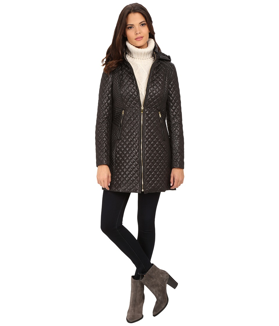 Via Spiga - Hooded Diamond Quilt Coat (Black) Women's Coat