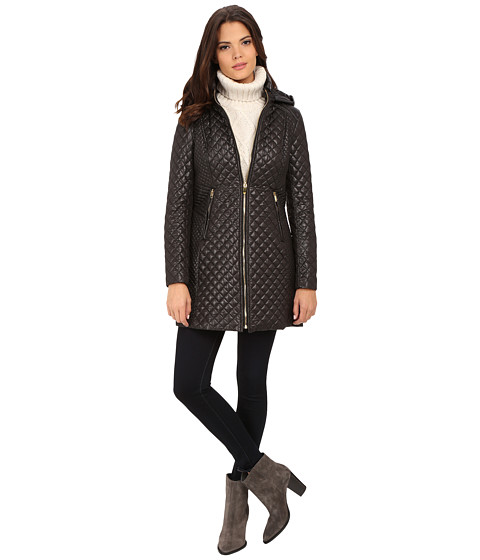 Via Spiga - Hooded Diamond Quilt Coat (Black) Women's Coat