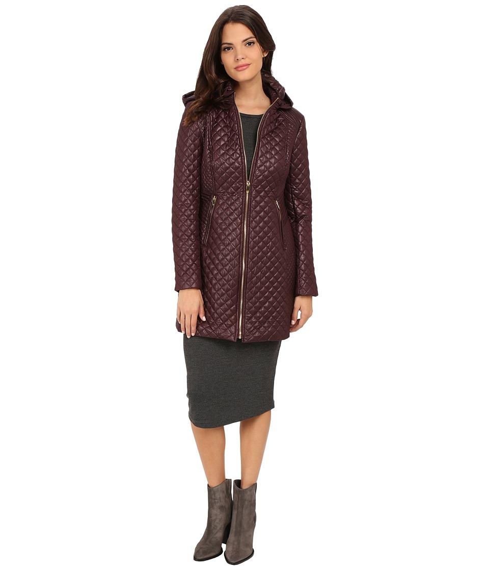 Via Spiga - Hooded Diamond Quilt Coat (Marsala) Women's Coat
