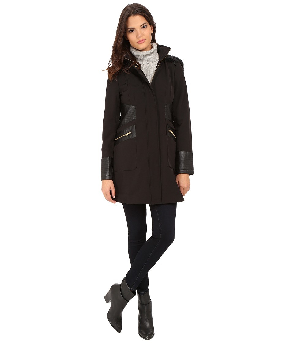 Via Spiga - Soft Shell Coat w/ Faux Fur Trimmed Hood (Black) Women's Coat