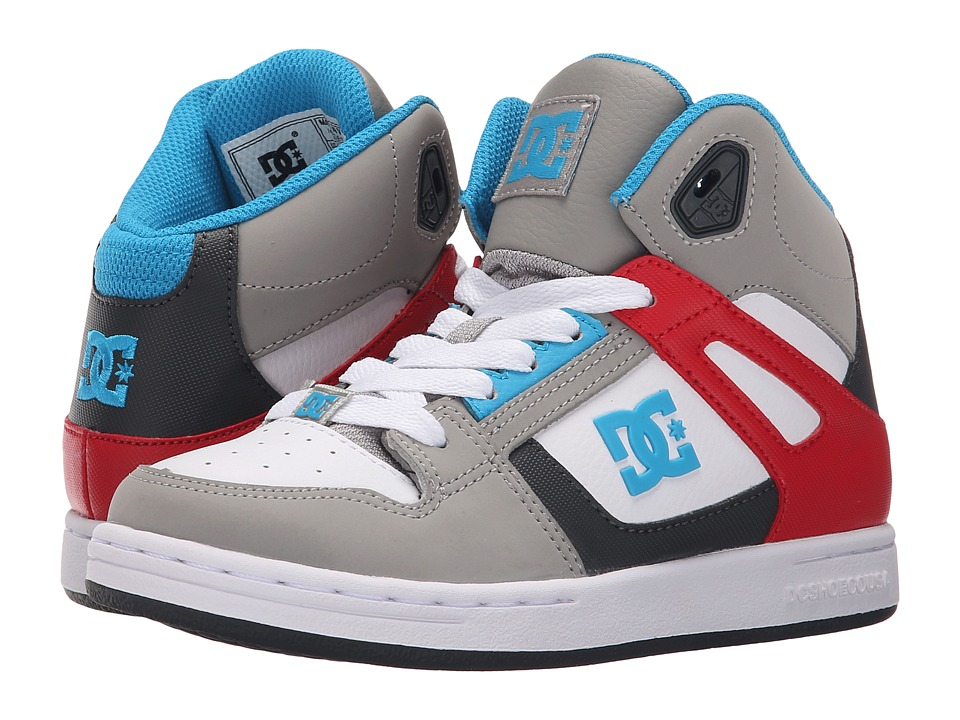 DC Kids - Rebound (Little Kid) (Grey/Grey/Red) Boys Shoes
