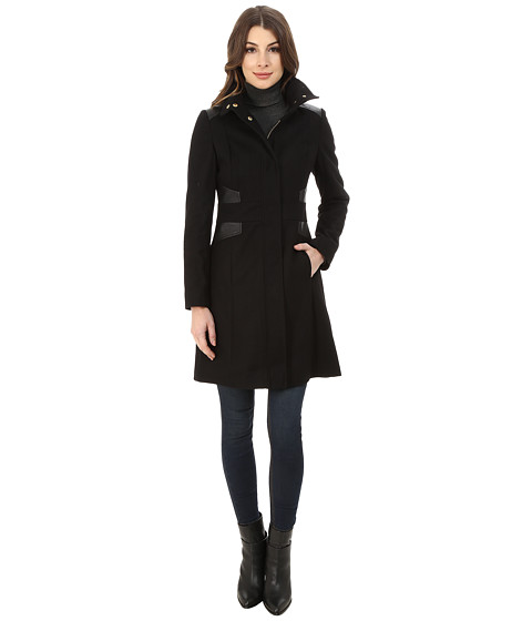 Via Spiga - Stand Collar Coat w/ PU (Black) Women's Coat
