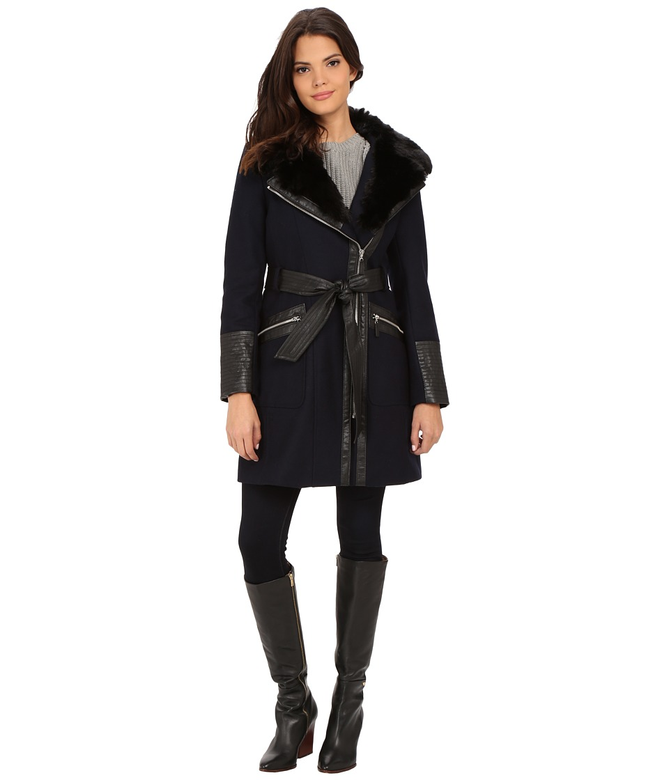 Via Spiga - Asymmetrical Faux Fur Belted Coat w/ PU Detail (Navy) Women's Coat