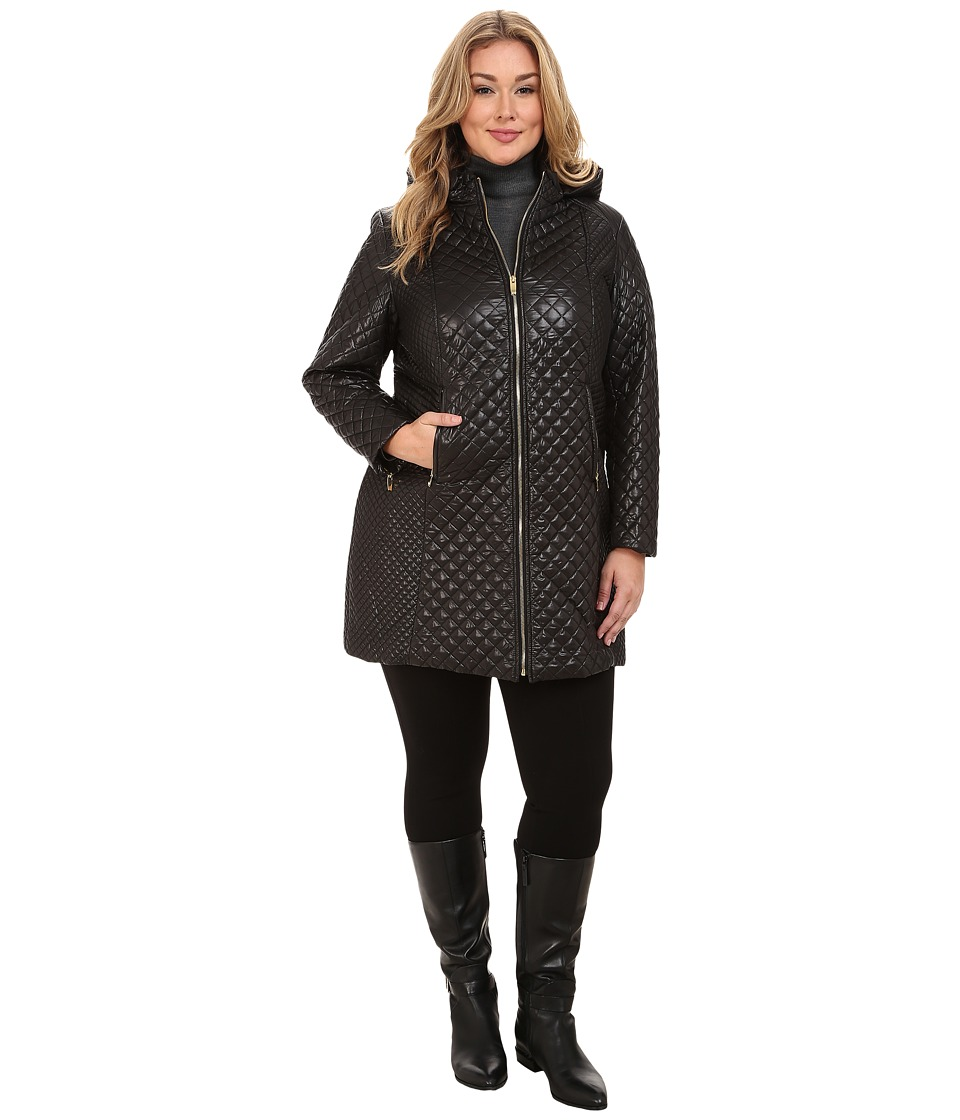 Via Spiga - Plus Size Hooded Diamond Quilt Coat w/ Sided Detail (Black) Women's Coat