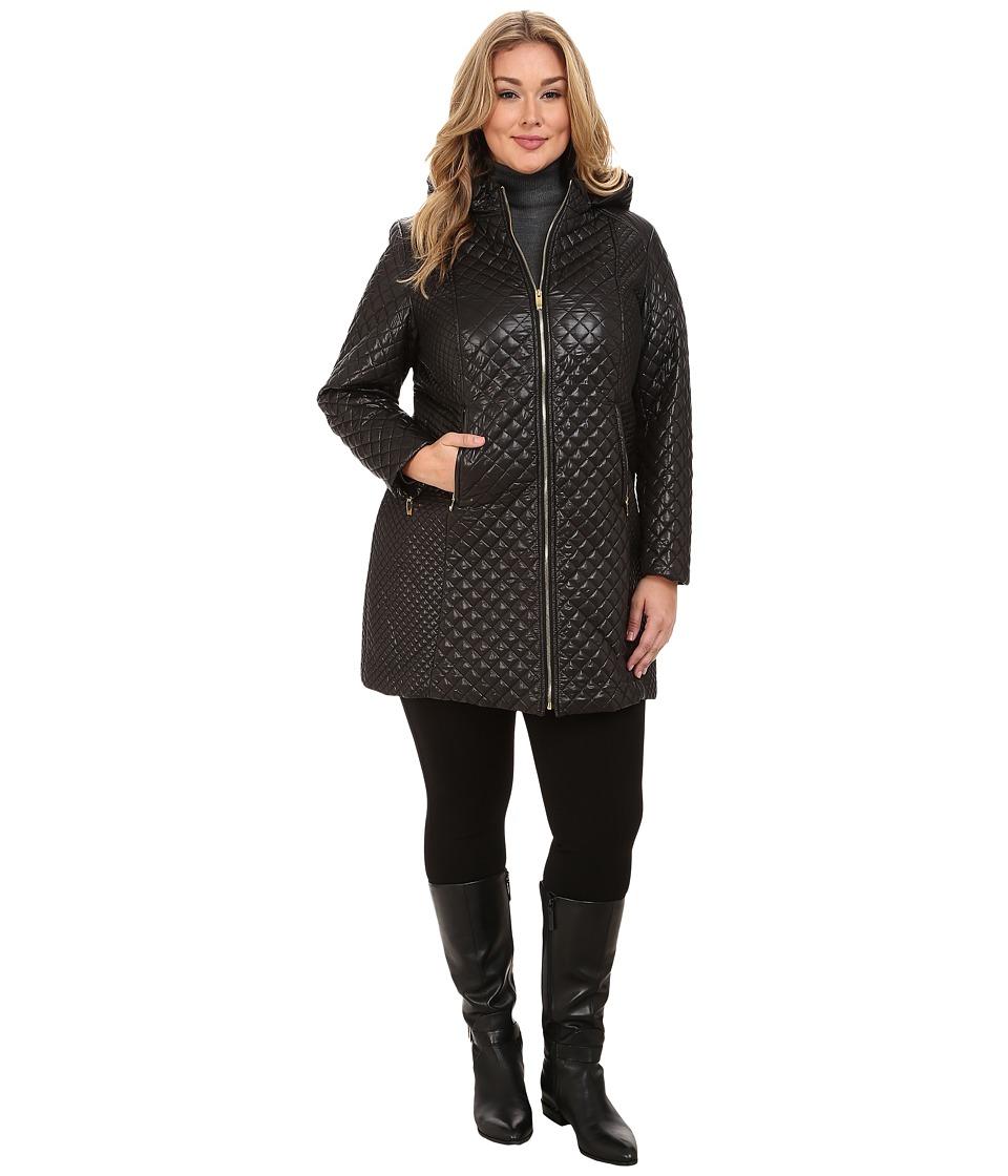Via Spiga - Plus Size Hooded Diamond Quilt Coat w/ Sided Detail (Black) Women's Coat
