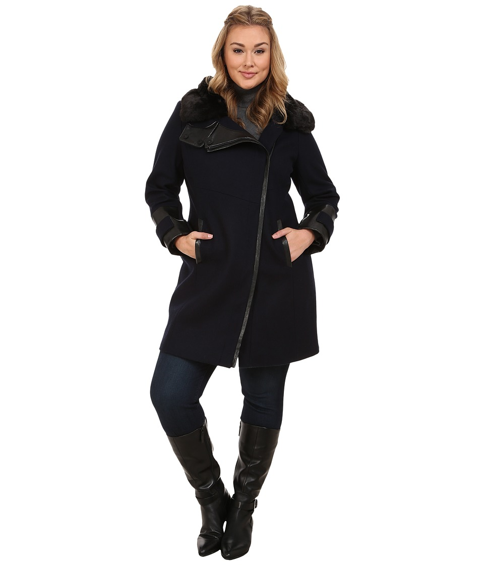 Via Spiga - Plus Size Asymmetrical Coat w/ Faux Fur Collar and PU Detail (Navy) Women's Coat