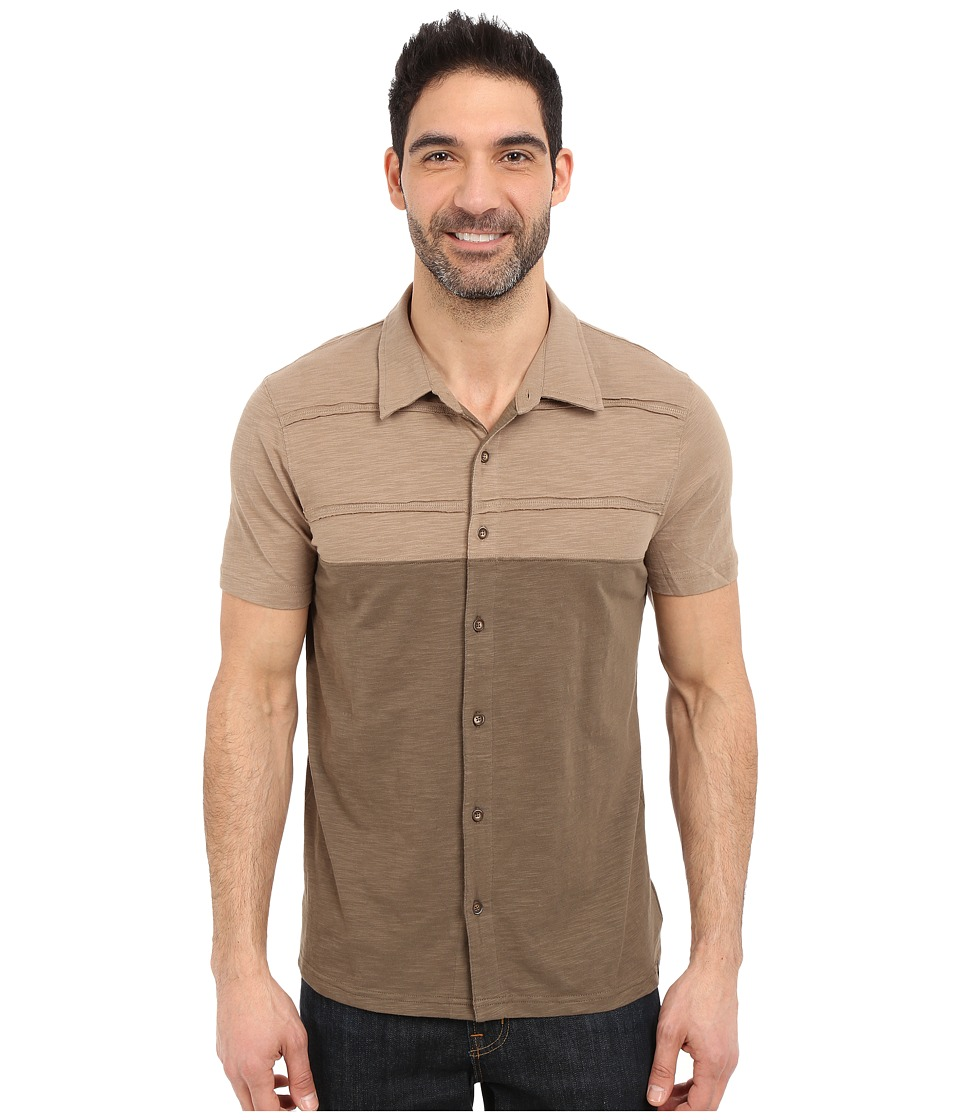Prana - Keylyn Button Front (Mud) Men's Short Sleeve Button Up