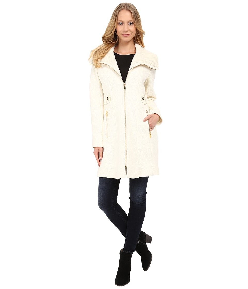 Via Spiga - Boiled Wool Coat w/ Knit Collar and Side Tabs (Ivory) Women's Coat