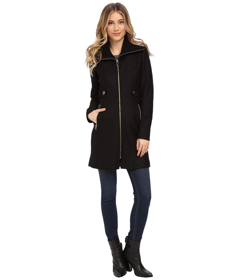 Via Spiga - Boiled Wool Coat w/ Knit Collar and Side Tabs (Black) Women's Coat