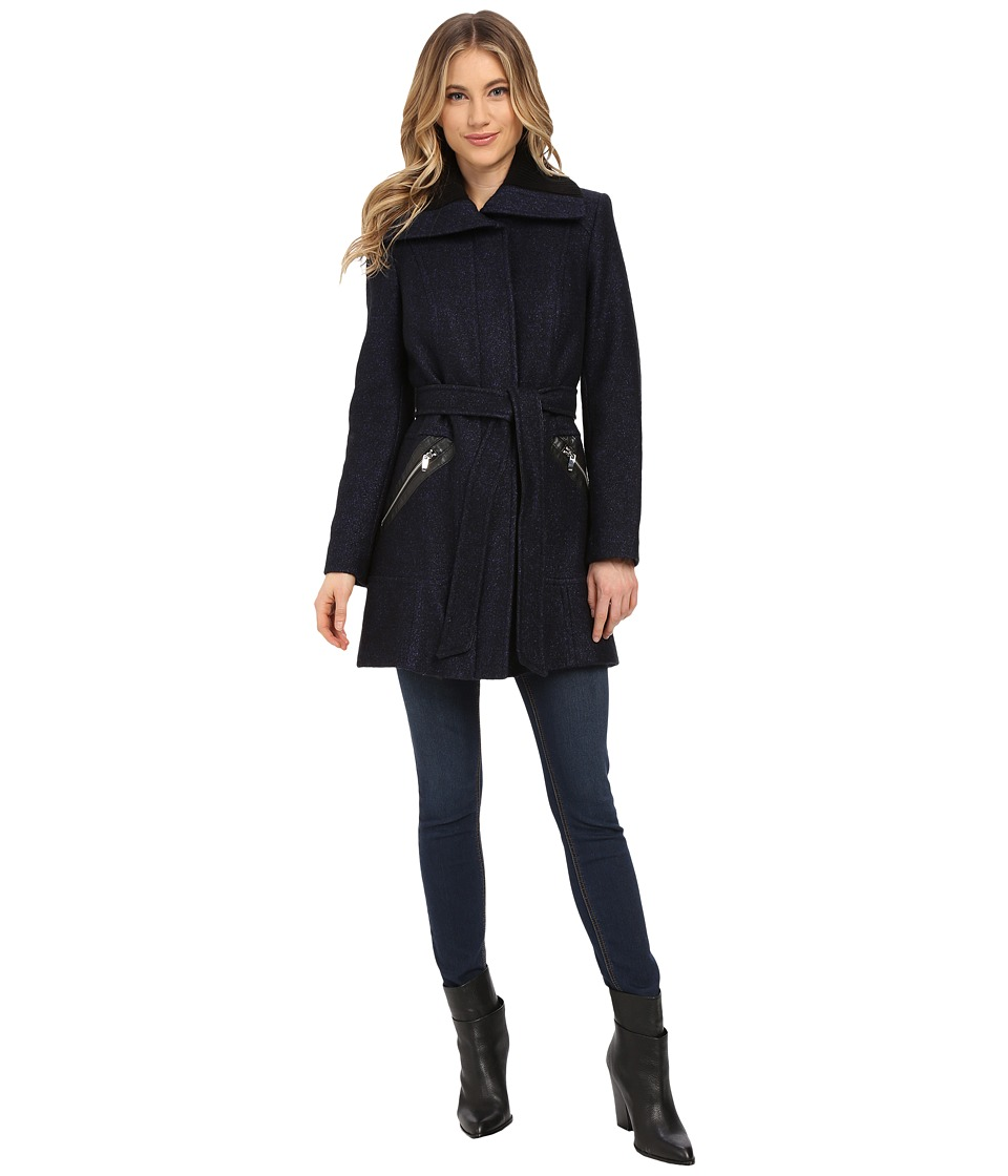 Via Spiga - Boiled Wool Coat w/ Knit Collar and Belt (Black/Purple) Women's Coat