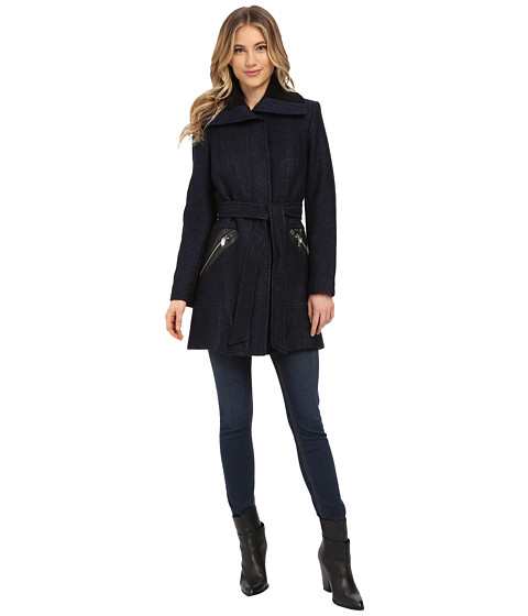 Via Spiga - Boiled Wool Coat w/ Knit Collar and Belt (Black/Purple) Women