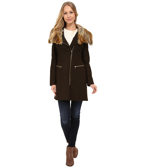 Via Spiga - Asymmetrical Coat w/ Multi Raccoon Faux Fur Collar (Military Green) Women