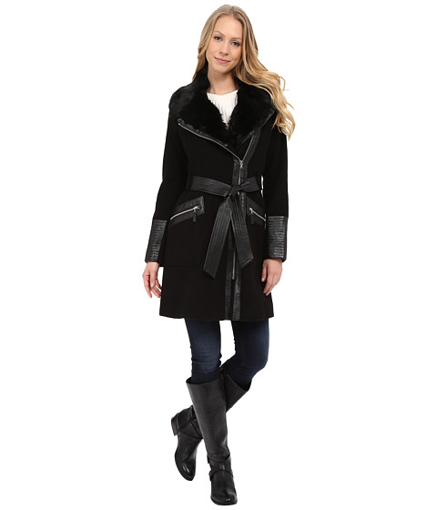 Via Spiga - Asymmetrical Belted Wool Coat w/ PU Detail and Faux Fur Collar (Black) Women's Coat