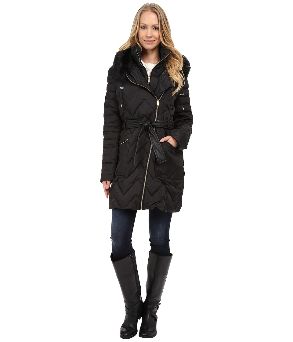 Via Spiga - Hooded Chevron Belted Down Coat w/ Faux Fur (Black) Women's Coat