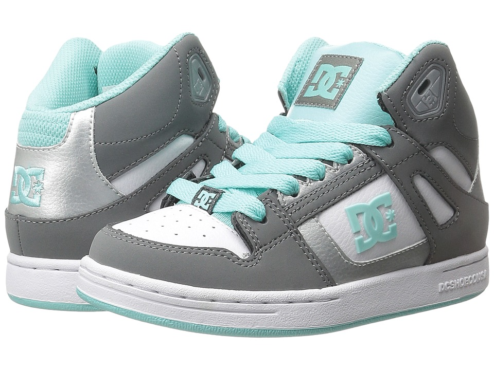 DC Kids - Rebound (Little Kid) (Grey/Blue/White) Girls Shoes
