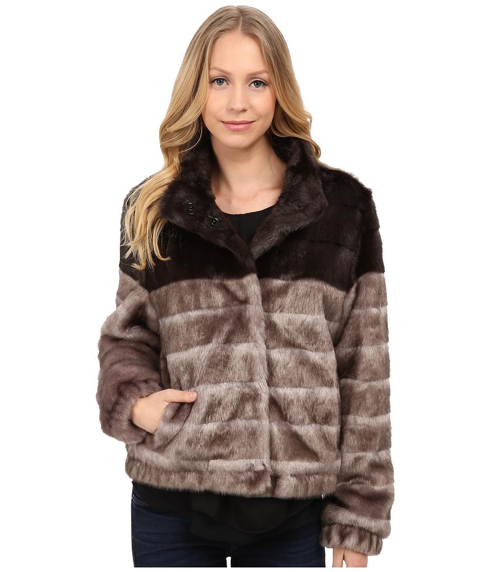Via Spiga Faux Fur Color Block Coat (Dark Grey) Women