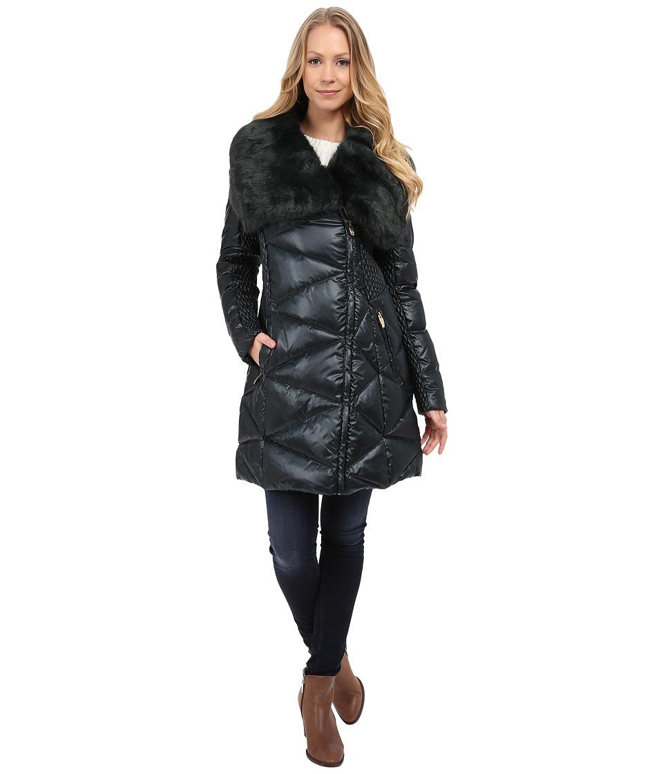 Via Spiga - Down Coat w/ Exaggerated Faux Fur Collar (Bottle Green) Women's Coat