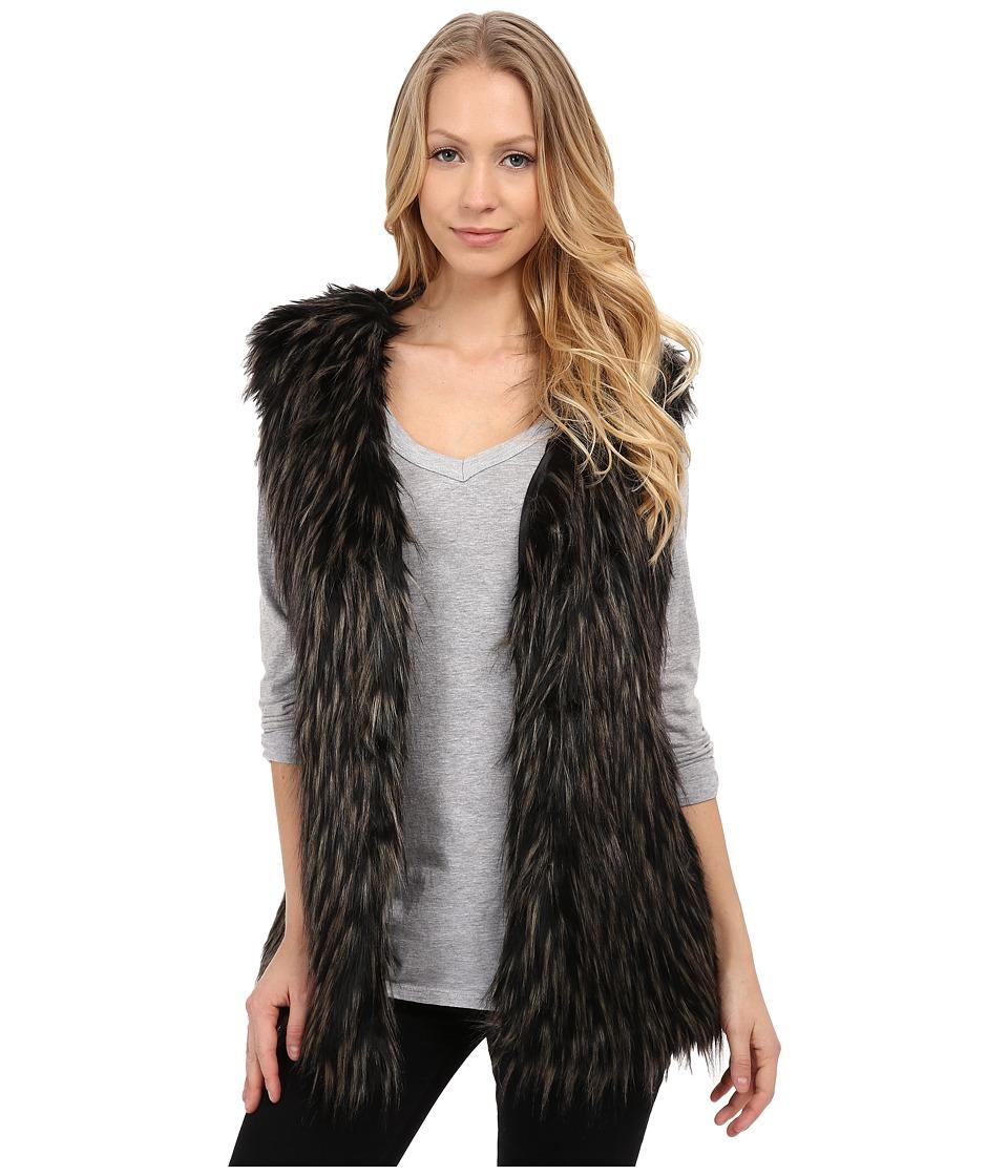 Via Spiga - Tipped Faux Fur Vest (Black) Women's Vest