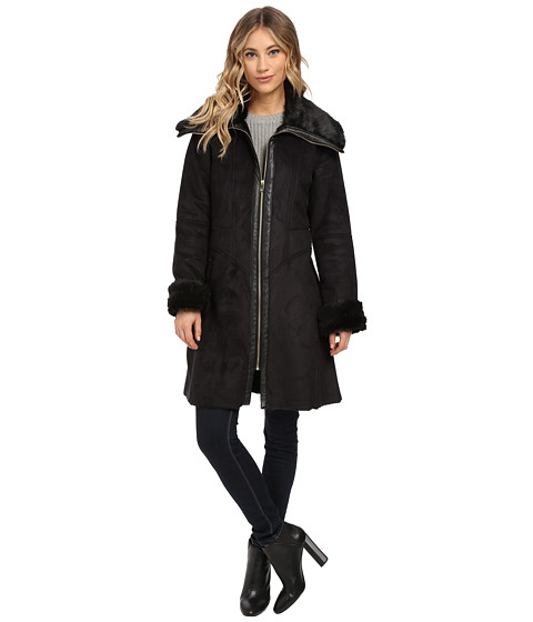 Via Spiga - Faux Winged Shearling Coat (Black) Women's Coat