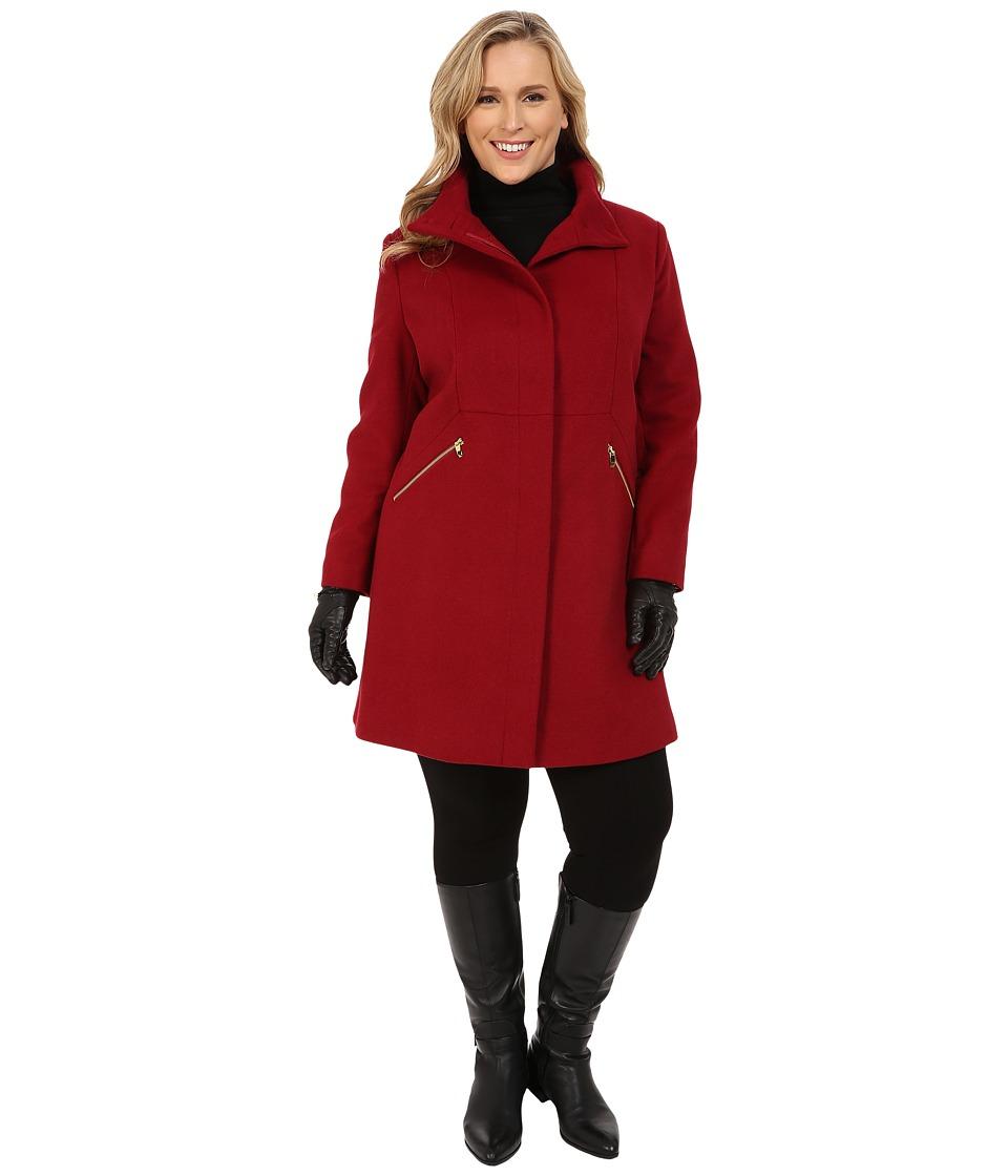 Via Spiga - Plus Size Stand Collar w/ Zipper Detail (Red) Women
