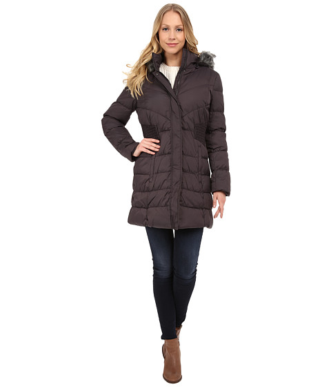 Via Spiga - Down Coat w/ FF Trimmed Hood and Shirred Sides (Steel Grey) Women