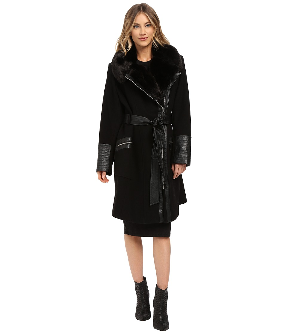 Via Spiga - Plus Size Asymmetrical Belted Faux Fur Collar Coat w/ PU Detail (Black) Women's Coat