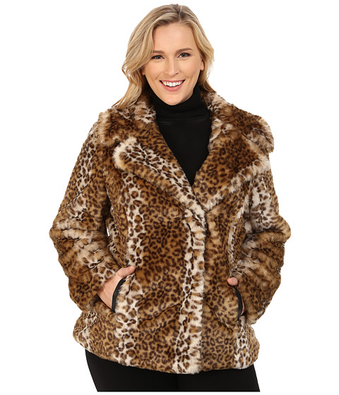 Via Spiga - Plus Size Novelty Faux Fur Leopard Coat (Leopard) Women