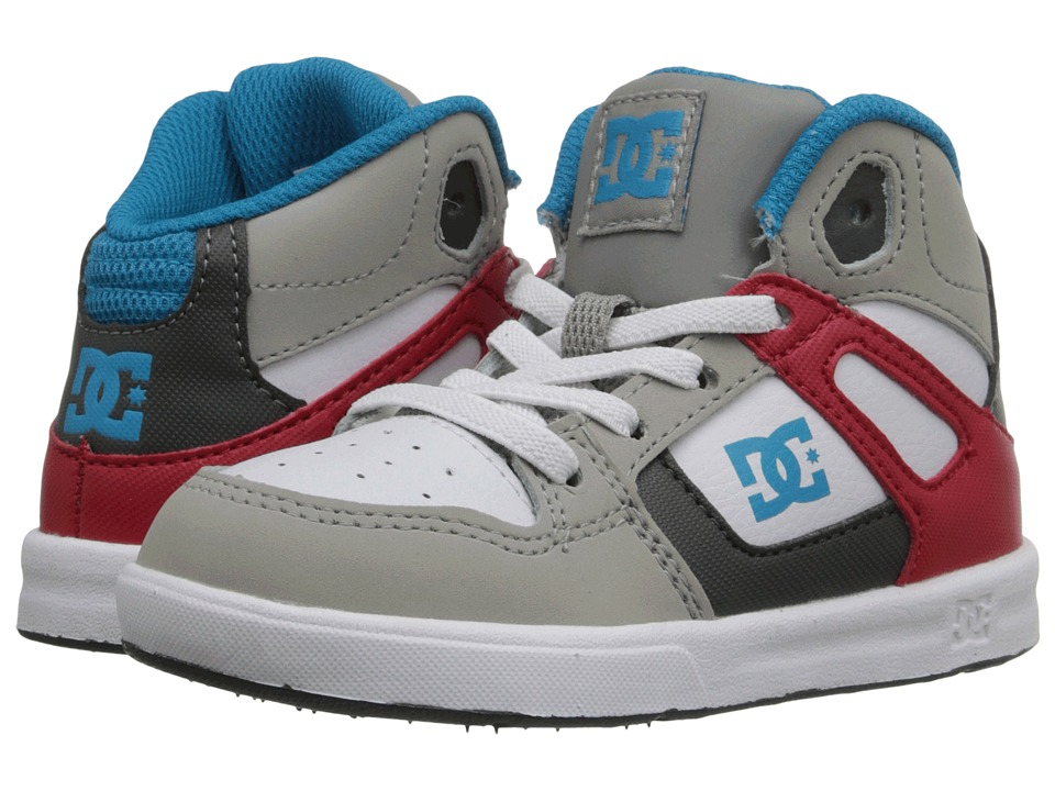 DC Kids - Rebound UL (Toddler) (Grey/Red/White) Boys Shoes