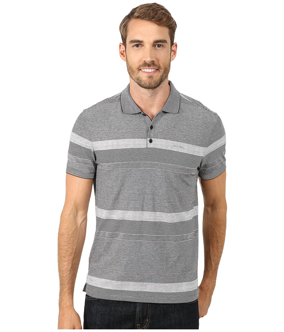 Calvin Klein - Refined Texture Auto Stripe Polo (Black) Men's Short Sleeve Pullover