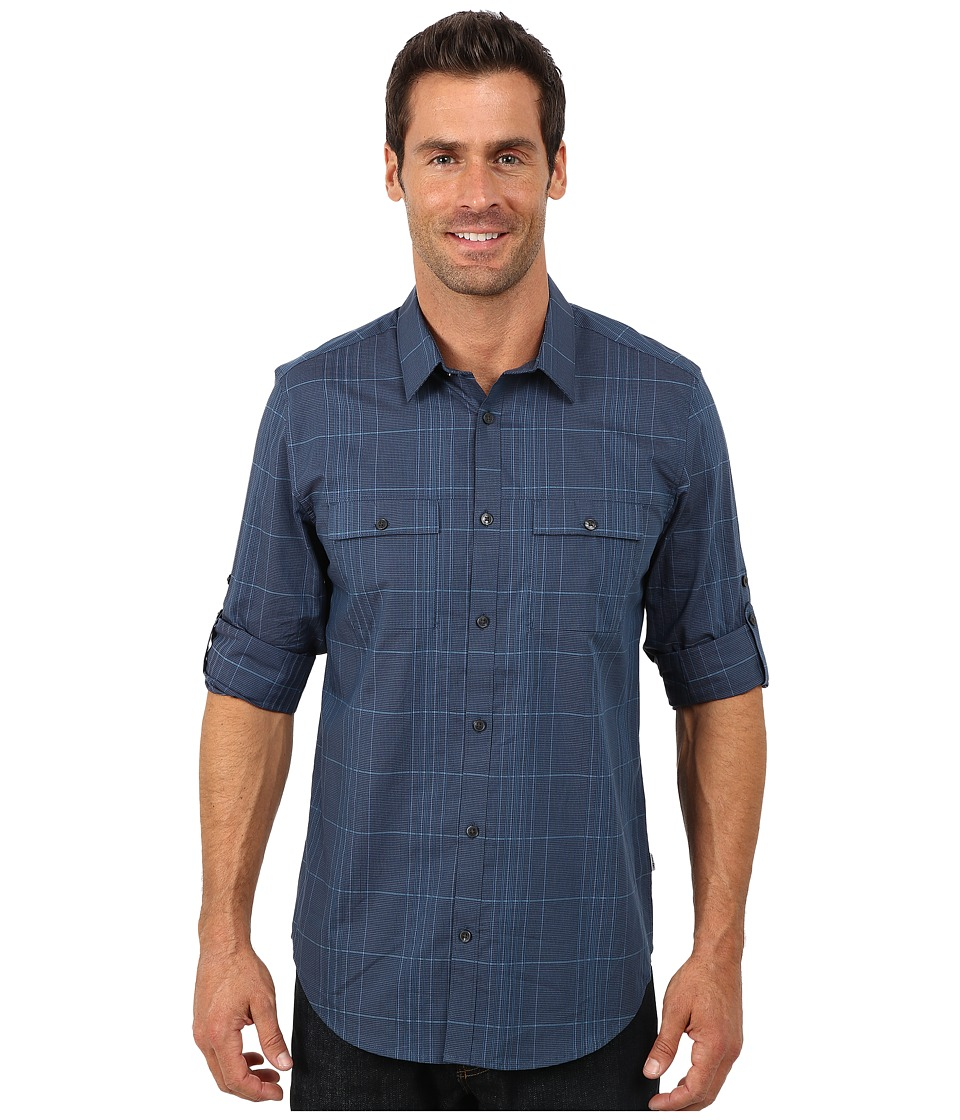 Calvin Klein - Satin Stripe Check Woven Shirt (Majolica Blue) Men's Long Sleeve Button Up