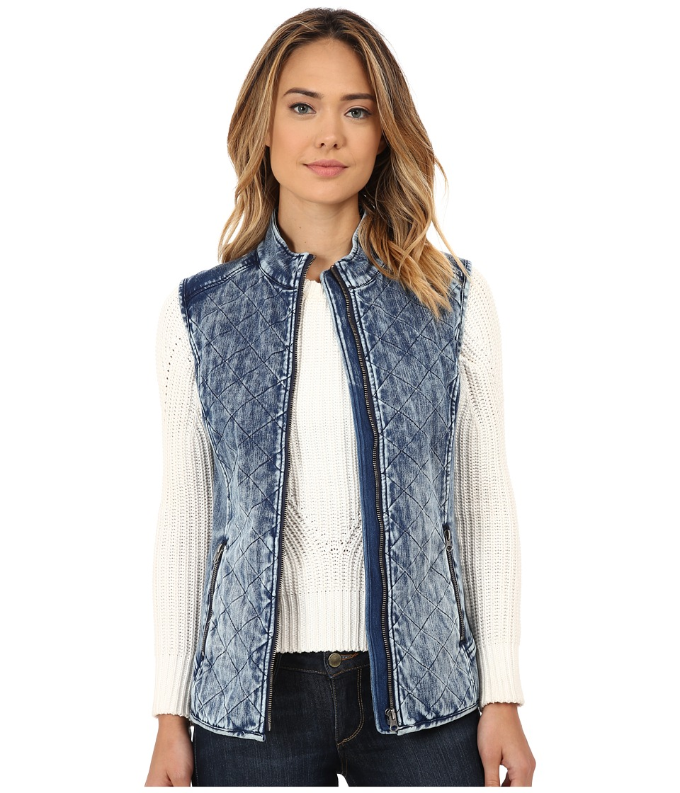 Liverpool - Quilted Powerflex Denim Vest (Indigo Blue Acid Wash) Women's Vest