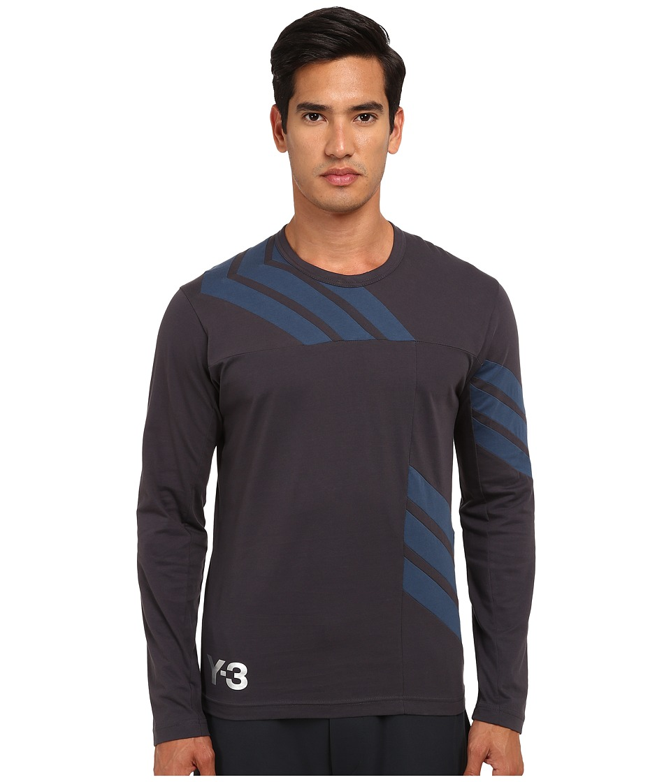 adidas Y-3 by Yohji Yamamoto - 3 Stripes Long Sleeve T-Shirt (Night Grey/Sub Blue) Men
