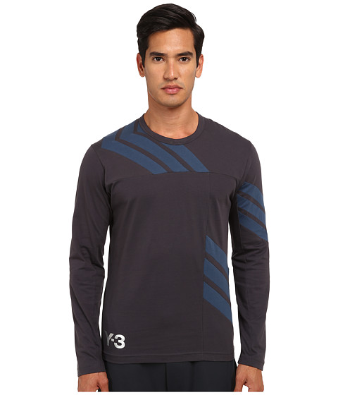 adidas Y-3 by Yohji Yamamoto - 3 Stripes Long Sleeve T-Shirt (Night Grey/Sub Blue) Men's T Shirt