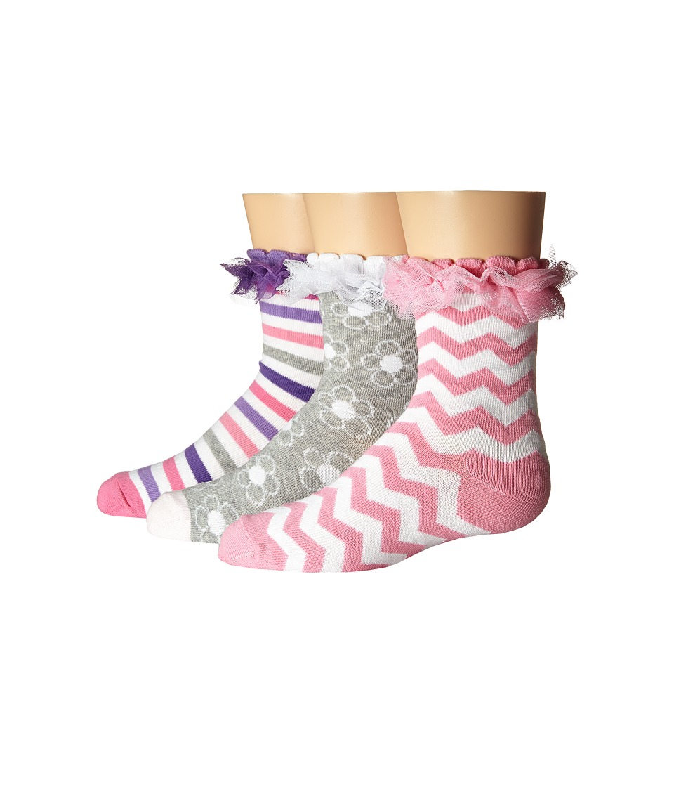 Jefferies Socks - Ruffle Stripe/Flower/Chevron 3-Pack (Infant/Toddler/Little Kid/Big Kid) (Multi) Girls Shoes
