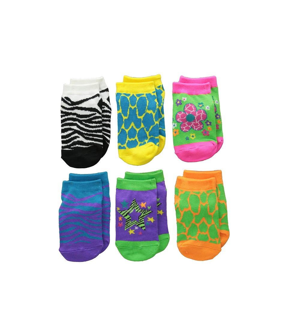 Jefferies Socks - Zebra Giraffe Low Cut 6-Pack (Toddler/Little Kid/Big Kid) (Neon) Girls Shoes
