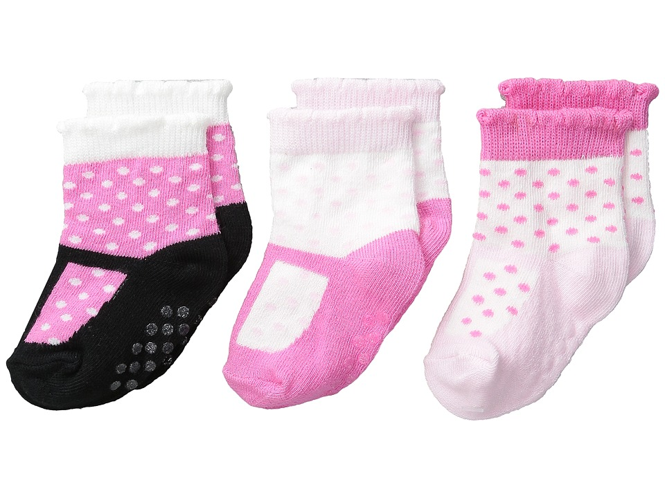 Jefferies Socks - T-Strap Socks Non-Skid 3-Pack (Infant/Toddler) (Multi) Girls Shoes