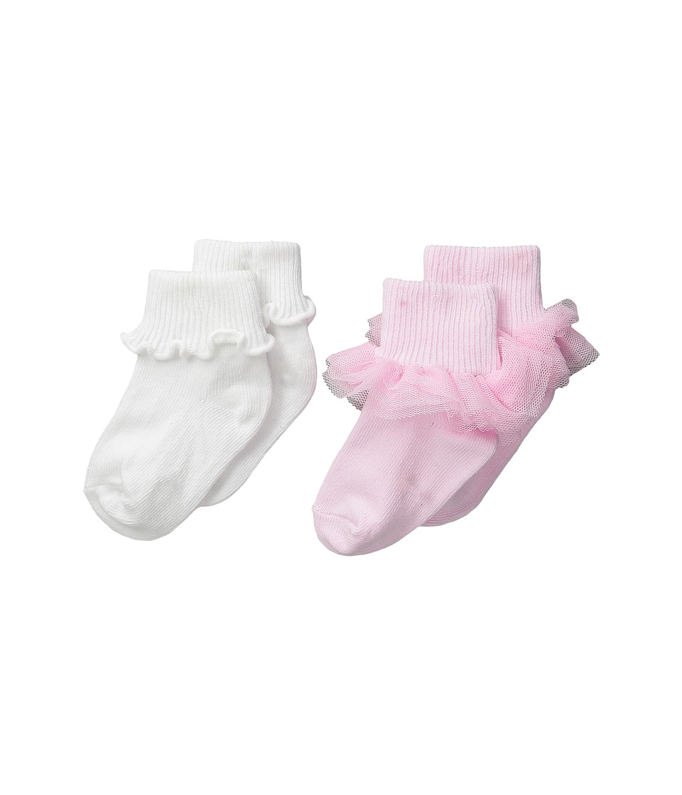 Jefferies Socks - Ruffle Ripple Edge 2-Pack (Infant/Toddler/Little Kid) (Pink/White) Girls Shoes