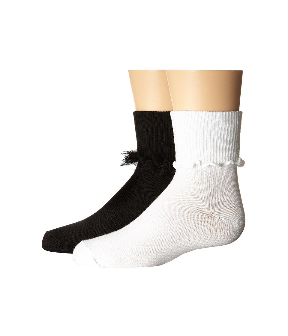 Jefferies Socks - Ruffle Ripple Edge 2-Pack (Infant/Toddler/Little Kid/Big Kid) (Black/White) Girls Shoes