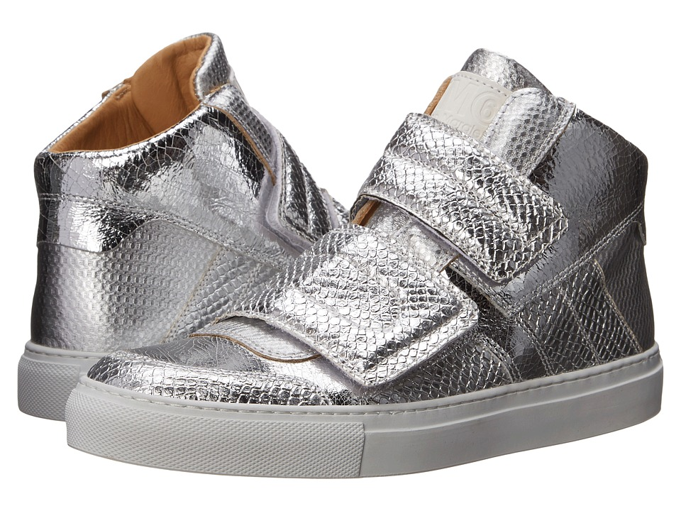 MM6 Maison Margiela - Metallic Crackle High Top (Silver) Women's Lace up casual Shoes