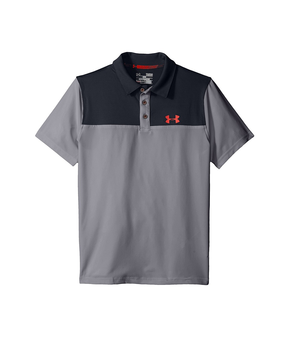 Under Armour Kids - Matchplay Blocked Polo (Big Kids) (Graphite/Black) Boy's Short Sleeve Knit