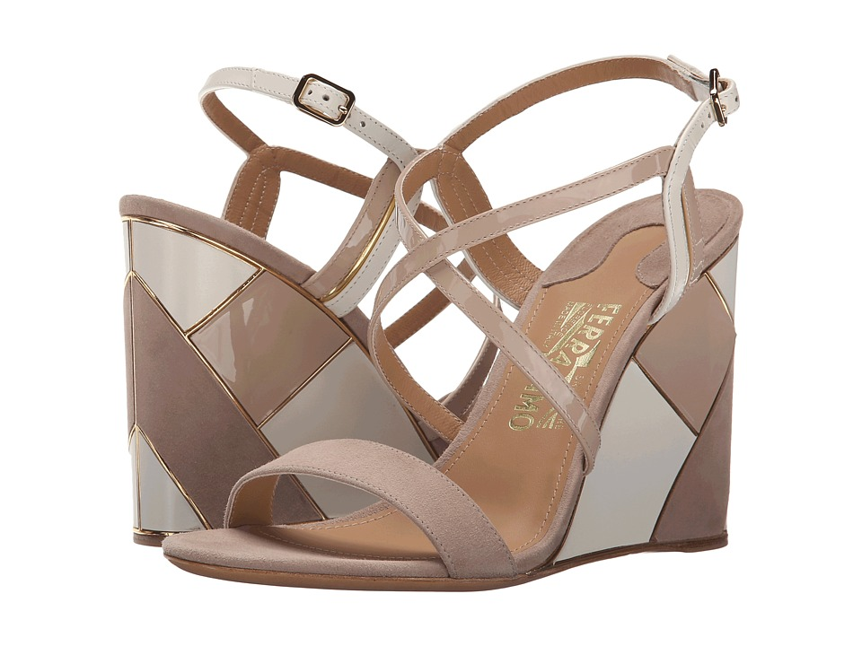 Salvatore Ferragamo - Gris (Nutmeg Suede Kid RO) Women's Wedge Shoes