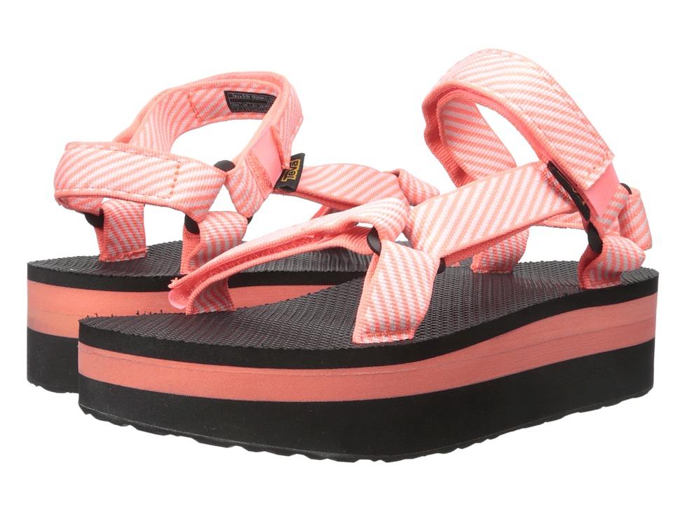 Teva - Flatform Universal (Candy Stripe Coral) Women's Sandals