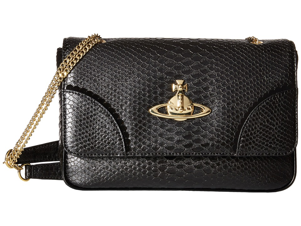 Vivienne Westwood - Frilly Snake Chain Convertible Crossbody (Black) Cross Body Handbags