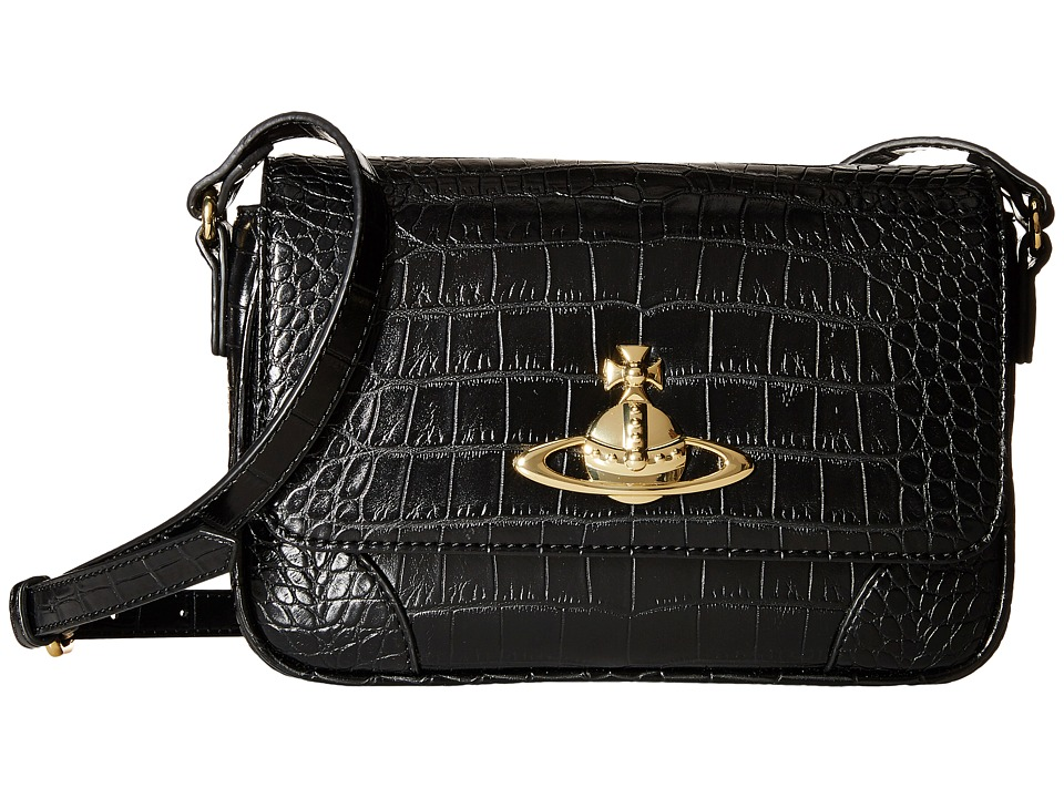 Vivienne Westwood - Jungle Crocodile Crossbody (Black) Cross Body Handbags
