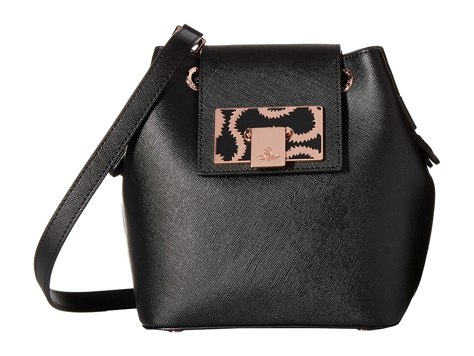 Vivienne Westwood - Saffiano Mini Bucket Crossbody (Black) Cross Body Handbags
