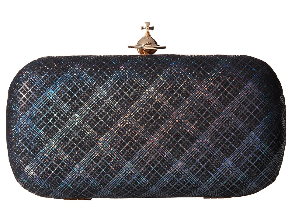 Vivienne Westwood - Galles Plaid Glitter Medium Clutch (Grey) Clutch Handbags
