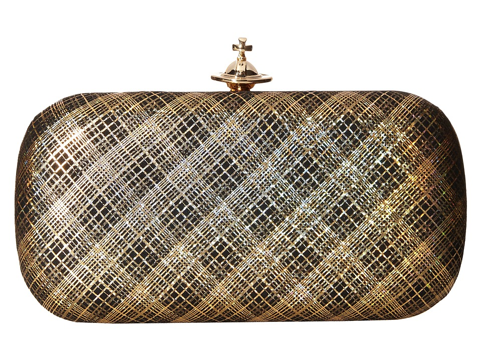 Vivienne Westwood - Galles Plaid Glitter Medium Clutch (Gold) Clutch Handbags