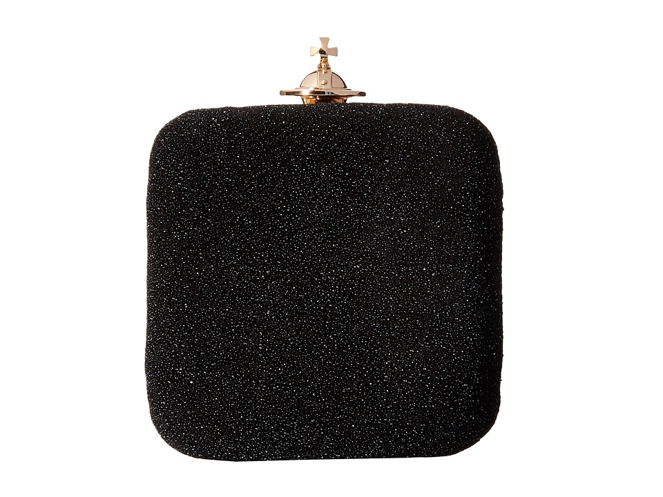 Vivienne Westwood - Angel Glitter Square Clutch (Black) Clutch Handbags