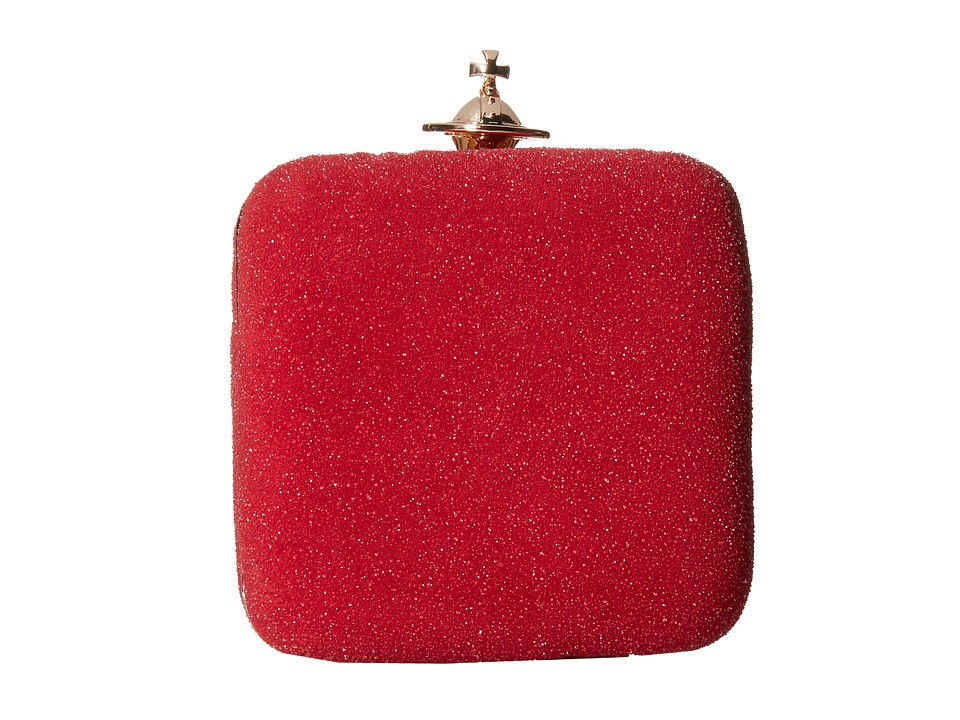 Vivienne Westwood - Angel Glitter Square Clutch (Red) Clutch Handbags